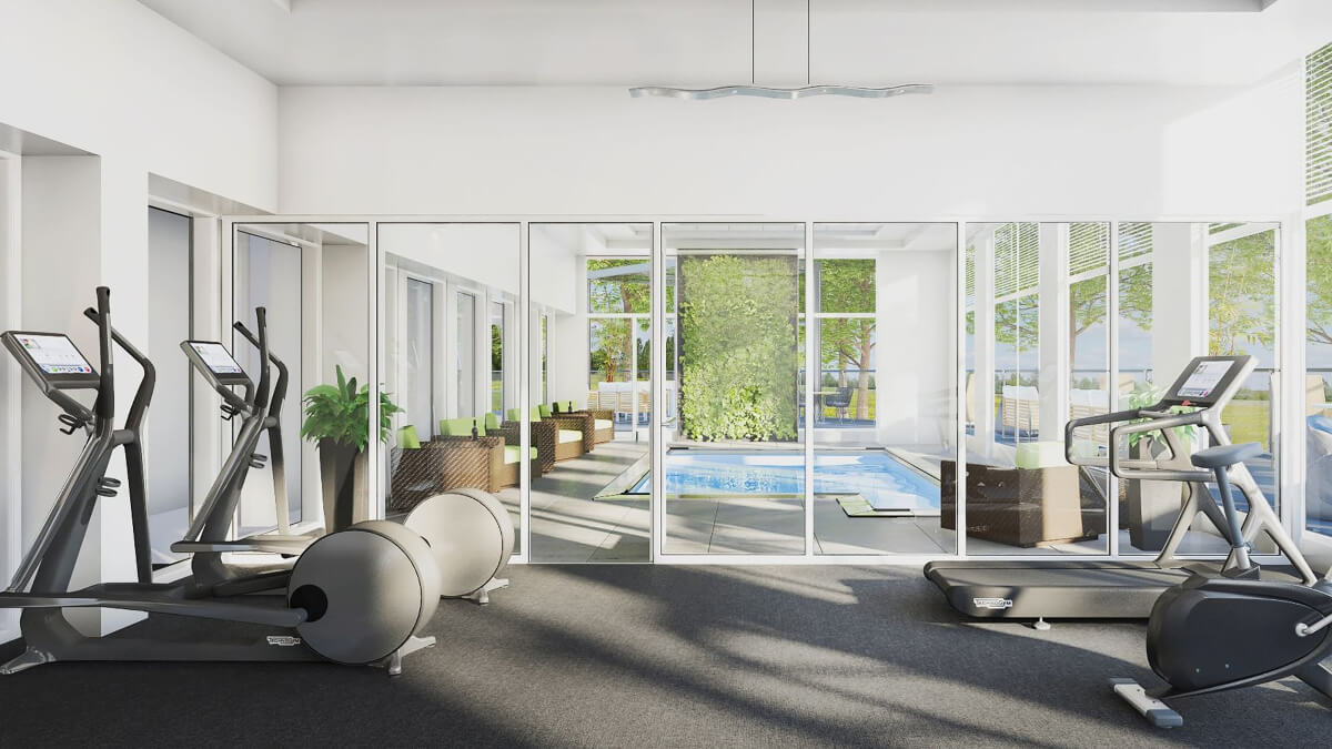 The Circle's state-of-the-art fitness center and indoor pool, featuring top-of-the-art equipment including ellipticals stationary bikes and treadmills.