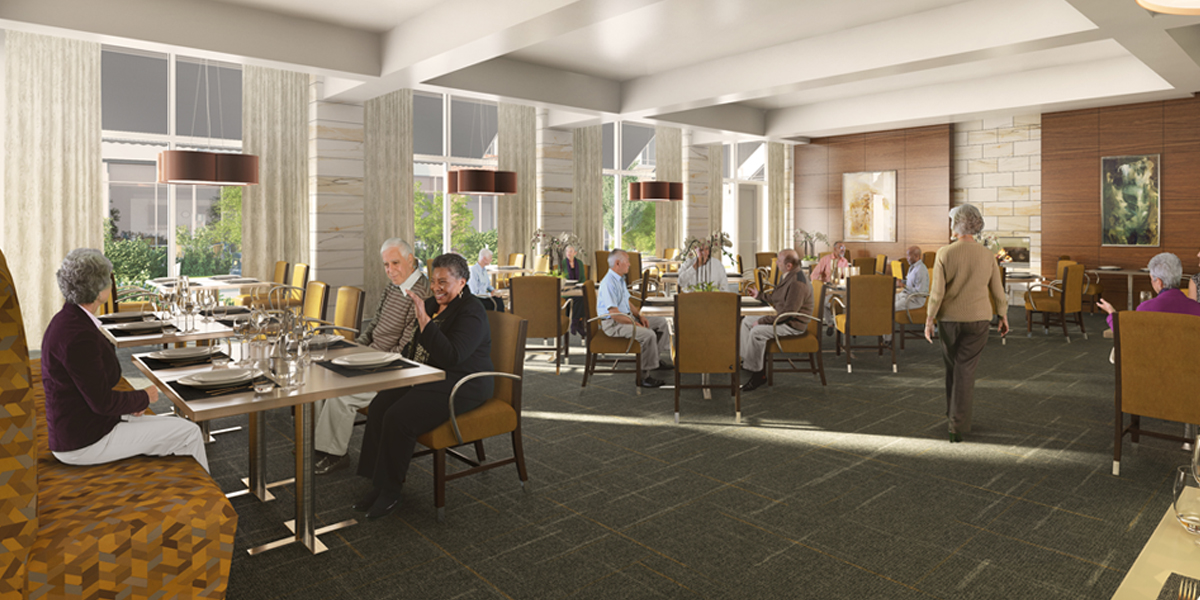 Residents socializing in The Circle's restaurant-style dining room with floor-to-ceiling windows, carpeted floor and sleek, modern design.